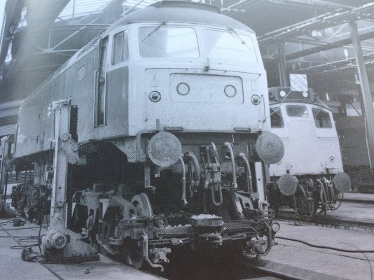 Class 47, No 47187, hoisted on the 'Matterson Jacks', with 'bogies' removed for inspection..jpeg
